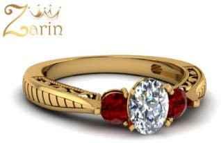 انگشتر طلای زرد کار شده با الماس و زیرکن سرخ