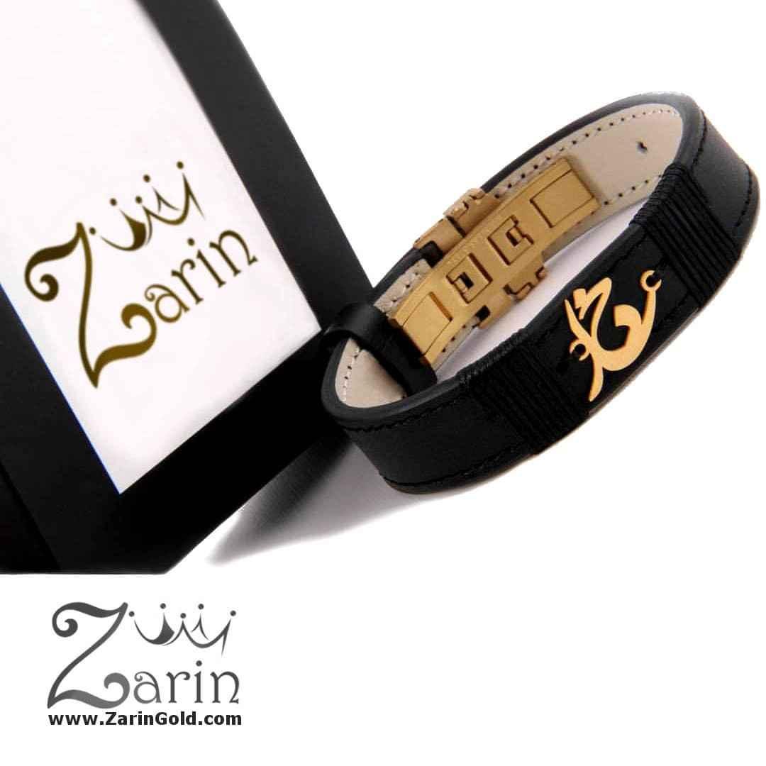 دستبند چرم طلای اسم طرح نستعلیق