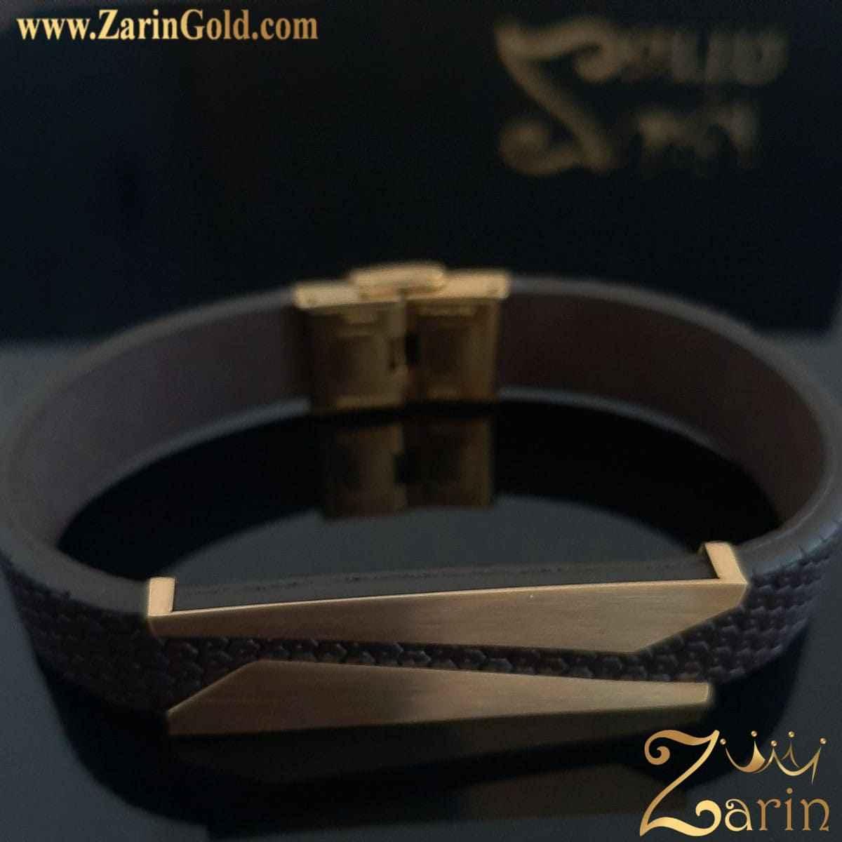 دستبند طلا مدل کات با چرم