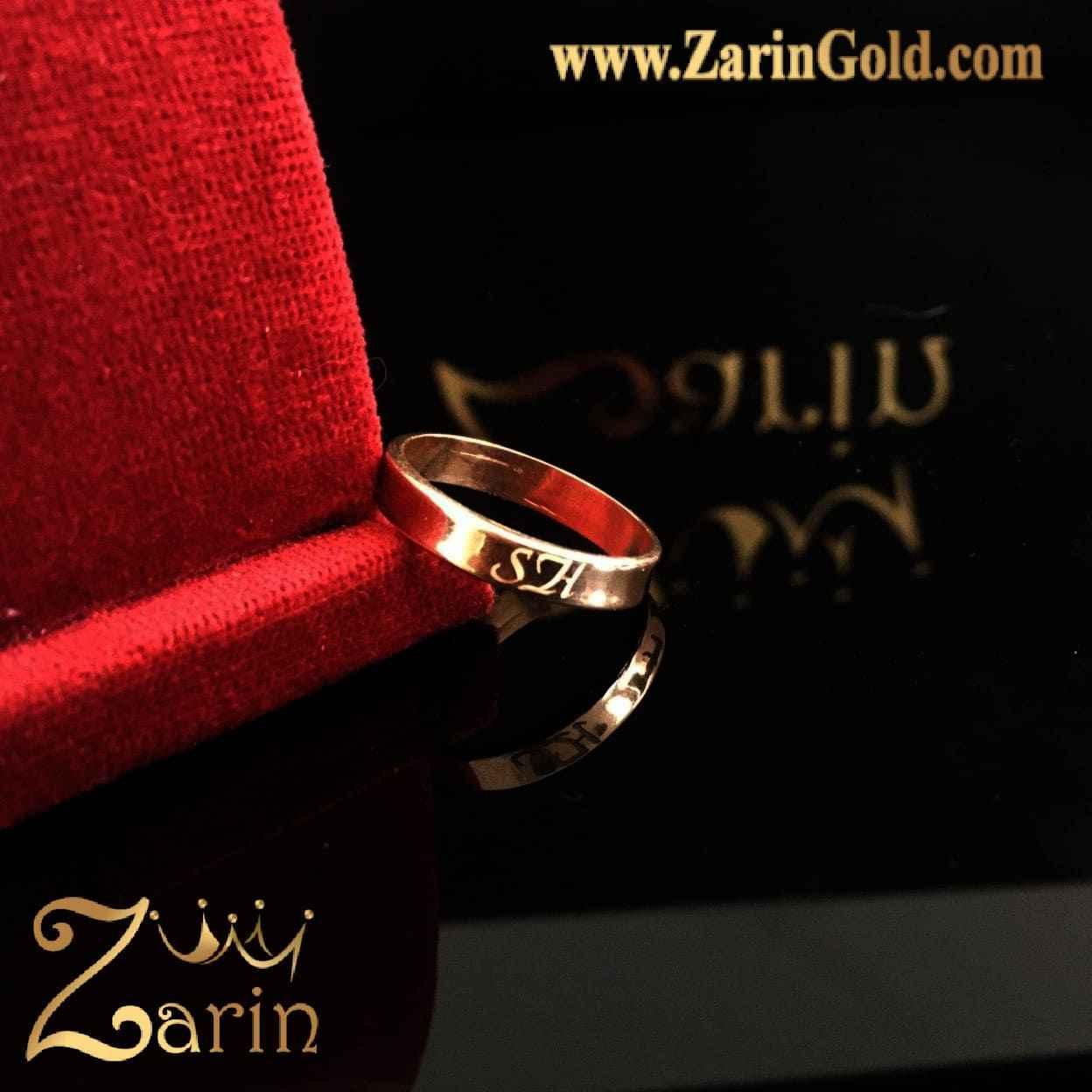 حلقه ازدواج و نامزدی طلا با حک حروف SH