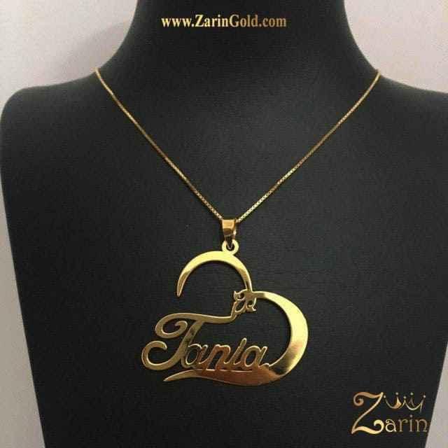 پلاک طلا اسم تانیا انگلیسی با زنجیر