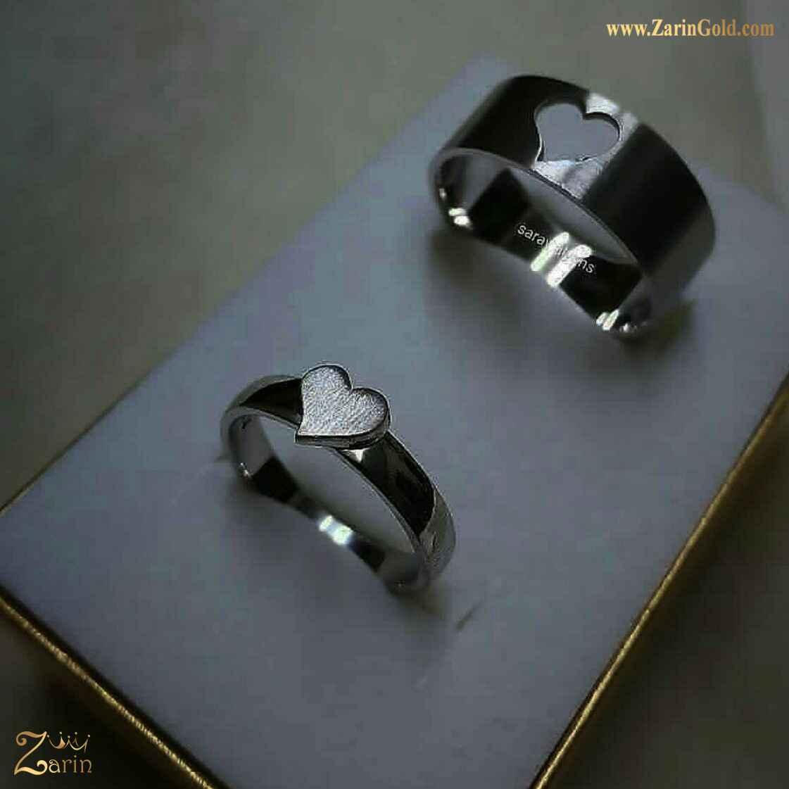 حلقه ازدواج و نامزدی طلا با حک قلب