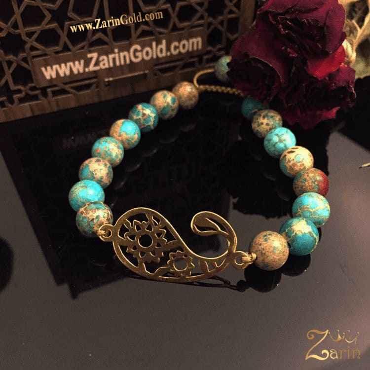 دستبند طلا طرح بته جقه با سنگ