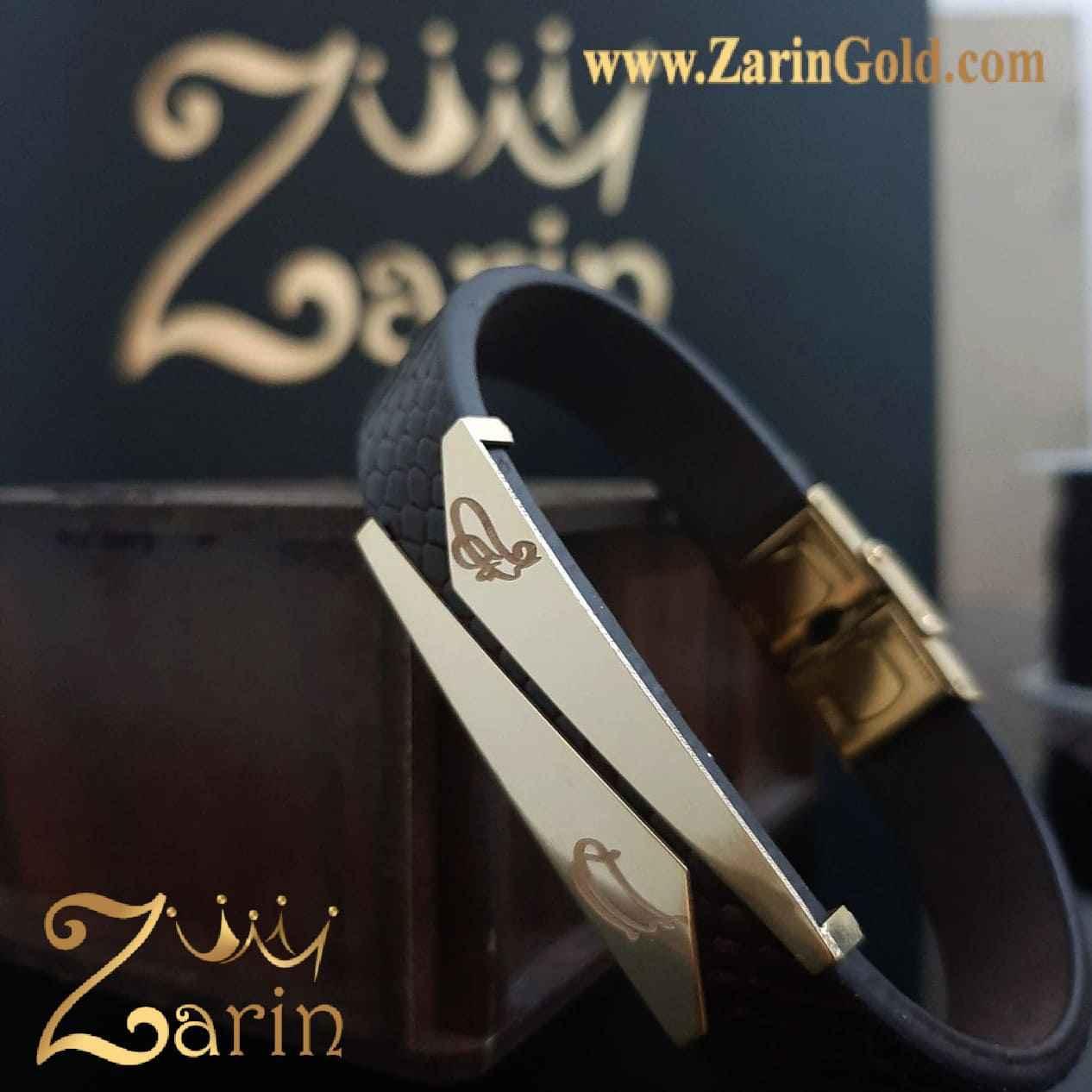 دستبند طلا طرح کات با چرم