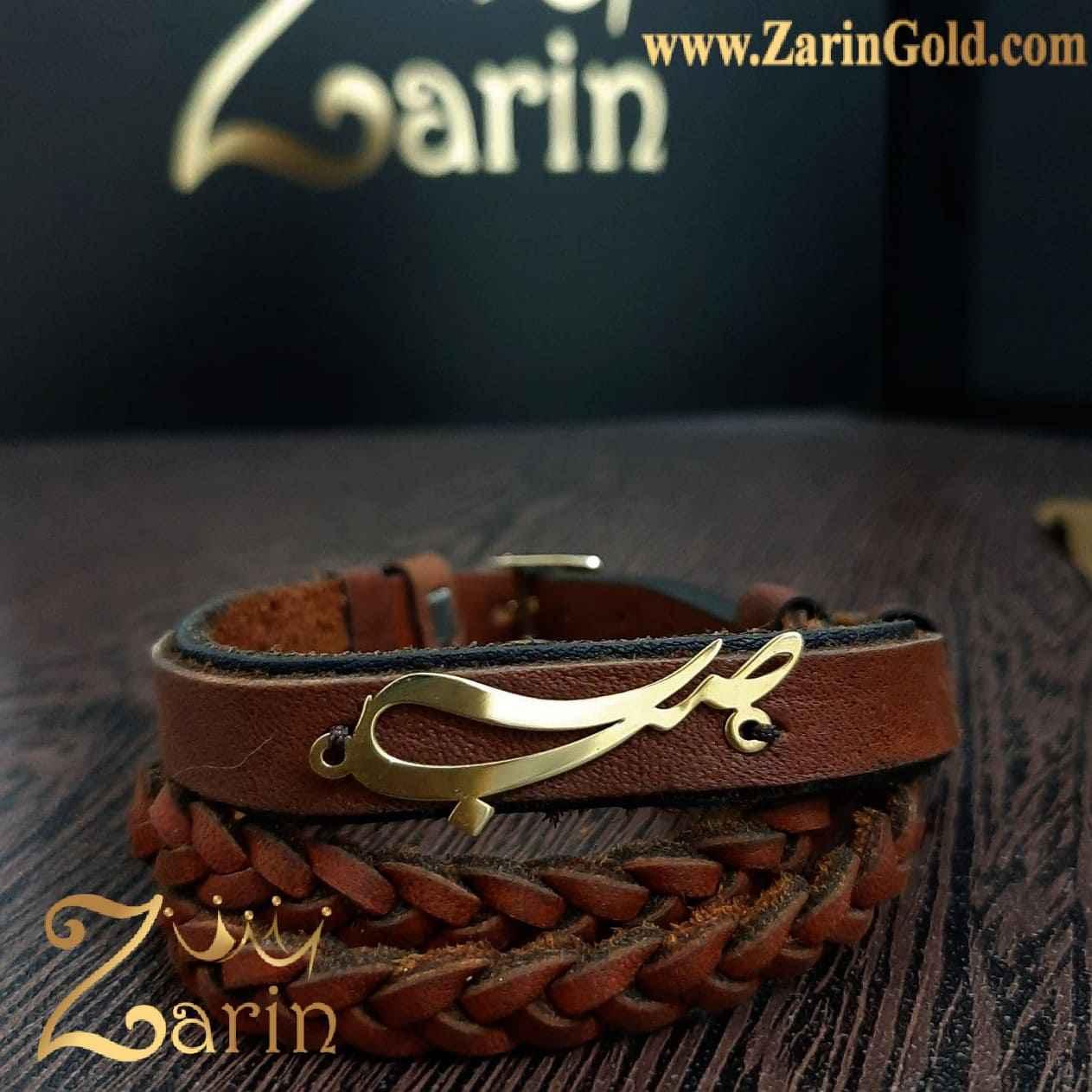 دستبند طلا طرح اسم صبا با چرم