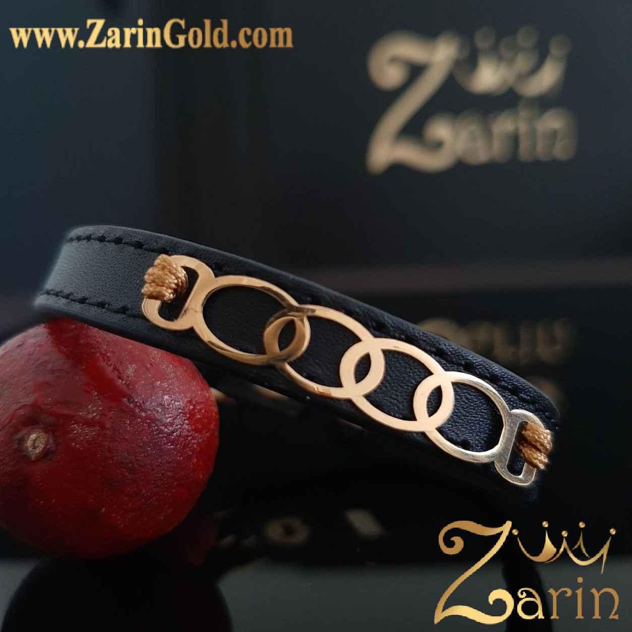 دستبند طلا طرح حلقه با چرم