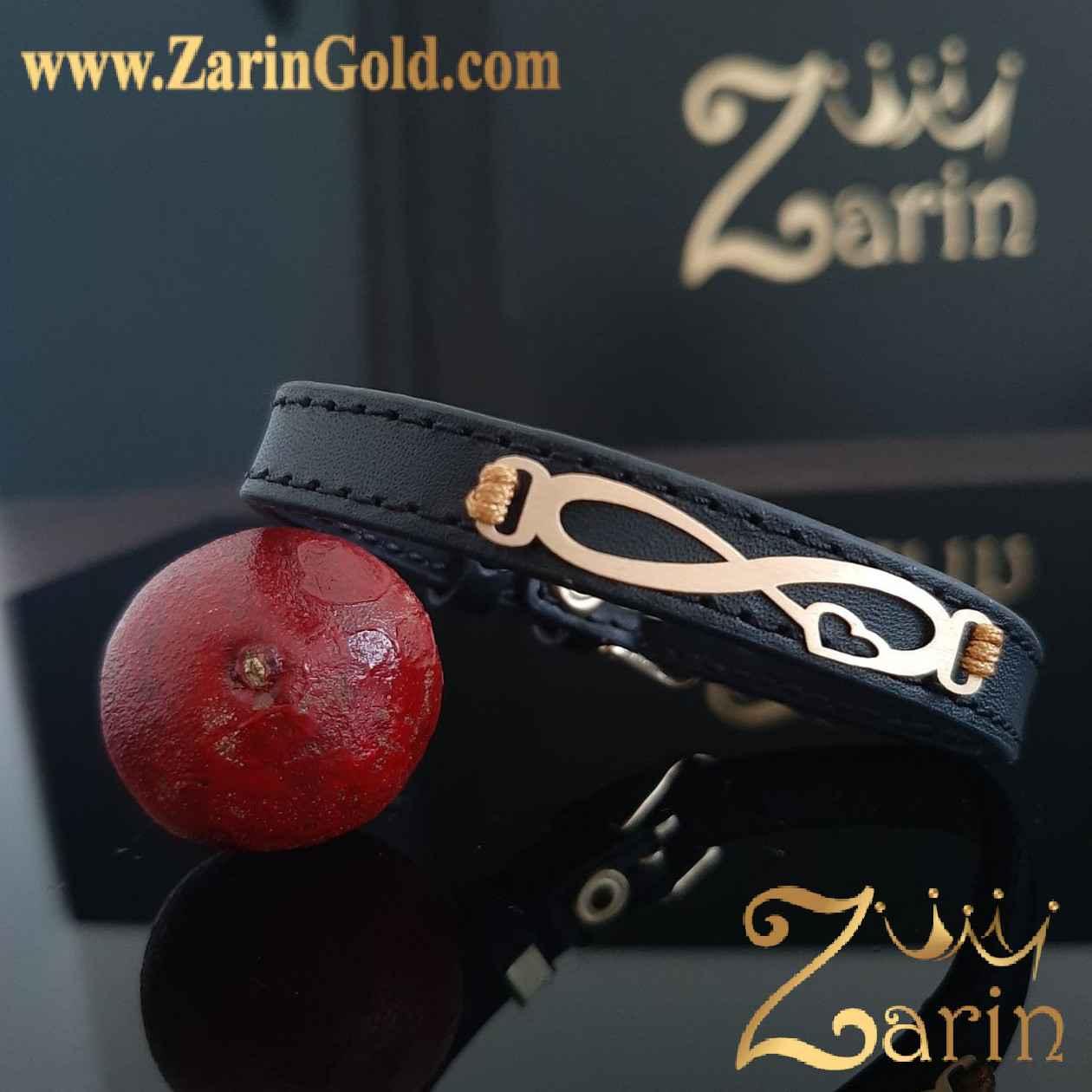 دستبند طلا بی نهایت عشق با چرم