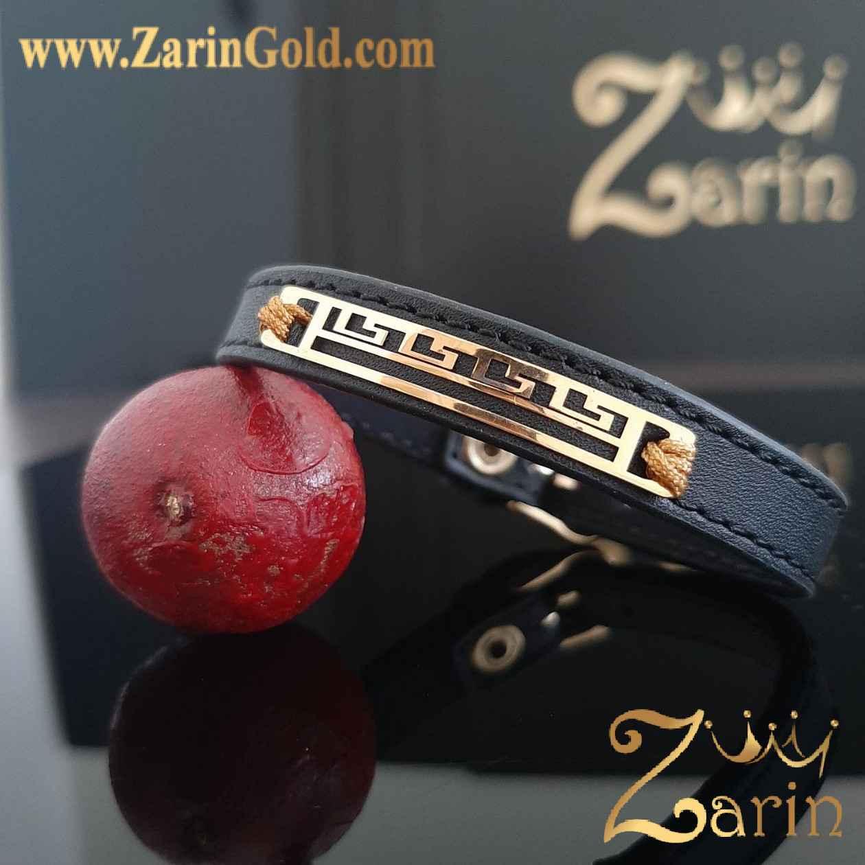 دستبند طلا طرح برند با چرم