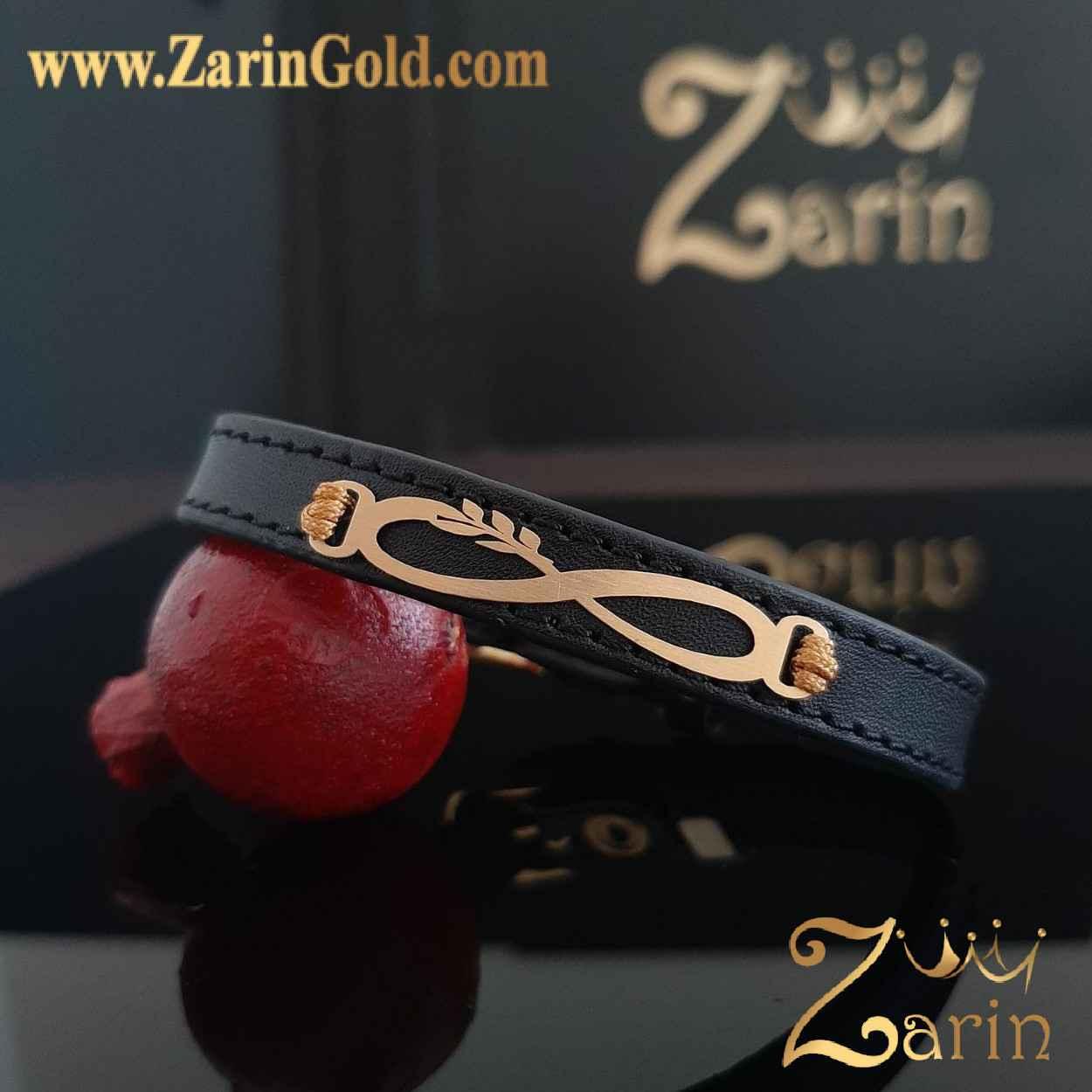 دستبند طلا طرح بی نهایت صلح با چرم