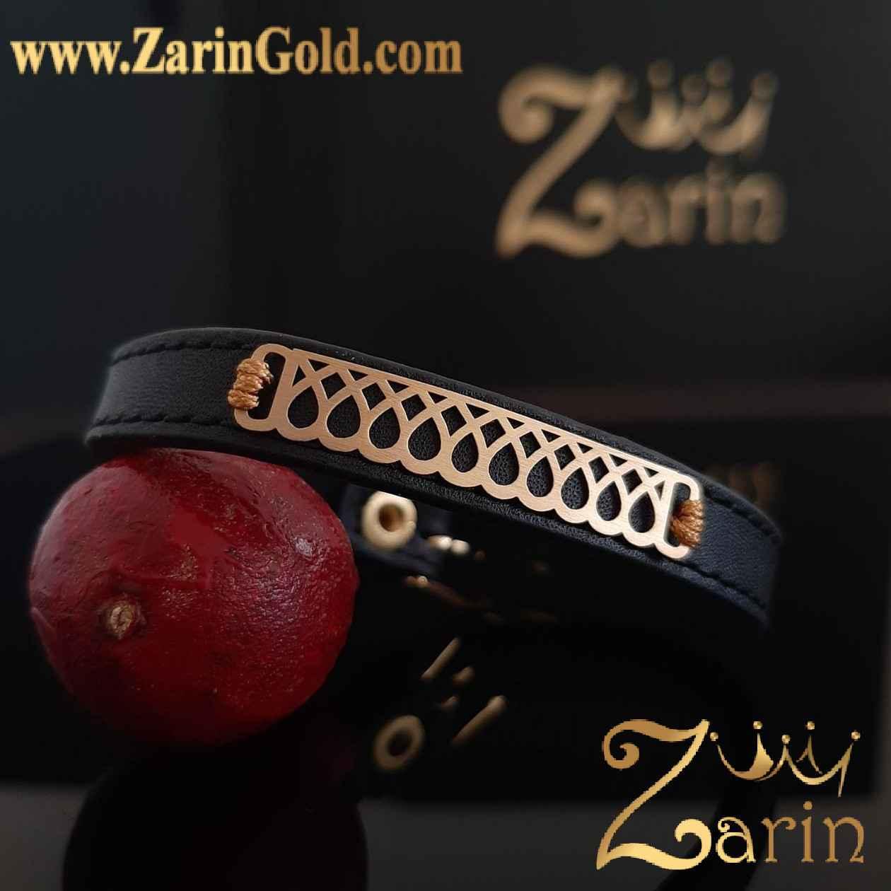 دستبند طلا طرح قطره با چرم