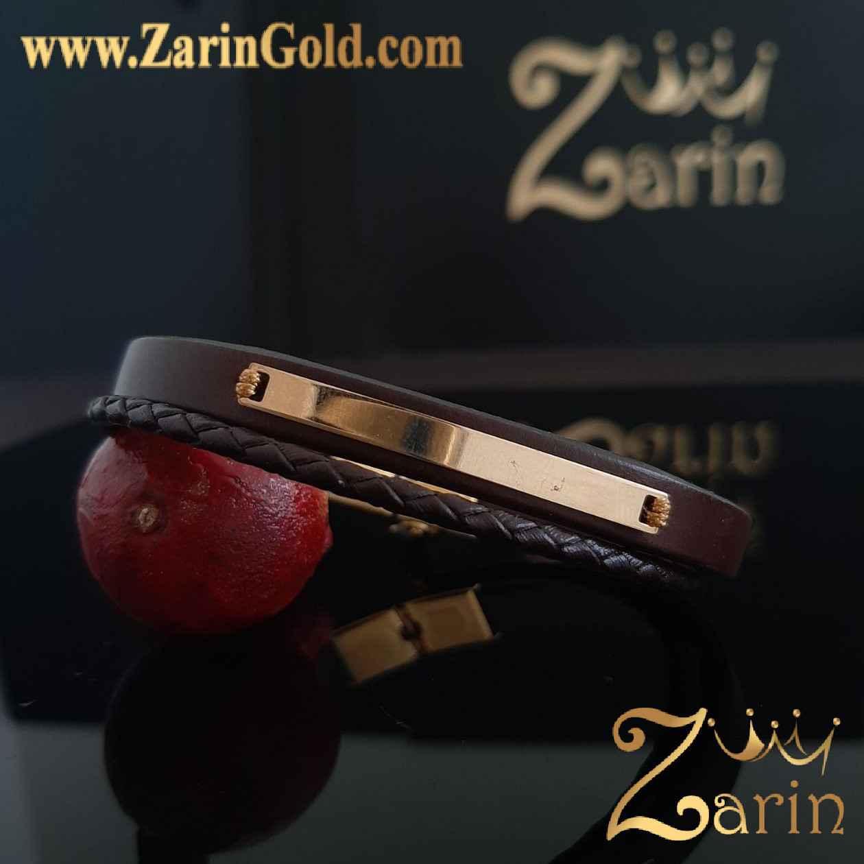 دستبند طلا طرح آینه با چرم