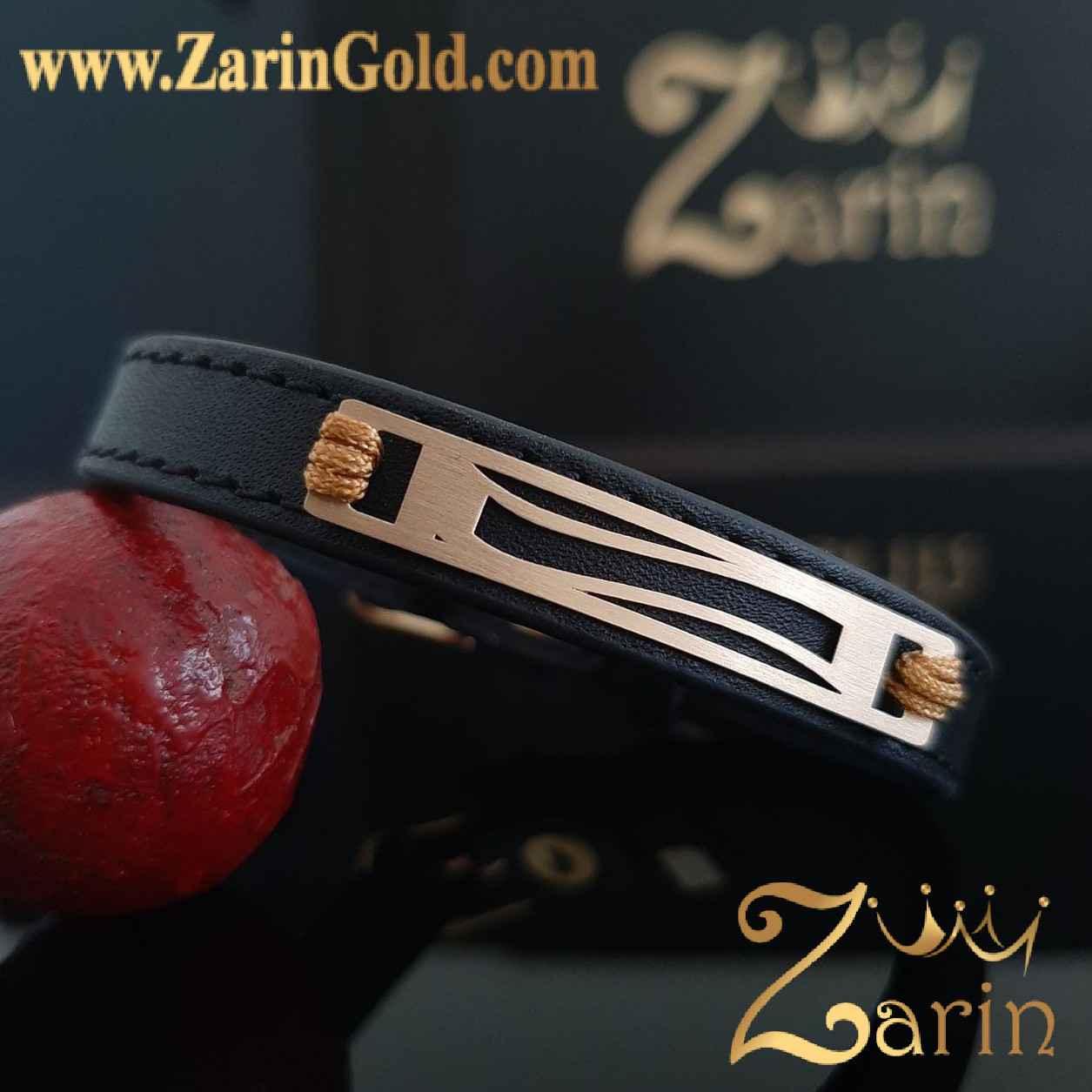 دستبند طلا طرح انحنا با چرم