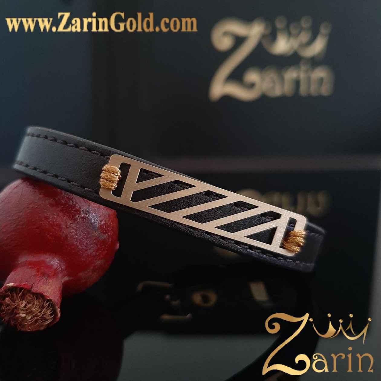 دستبند طلا آزادی با چرم