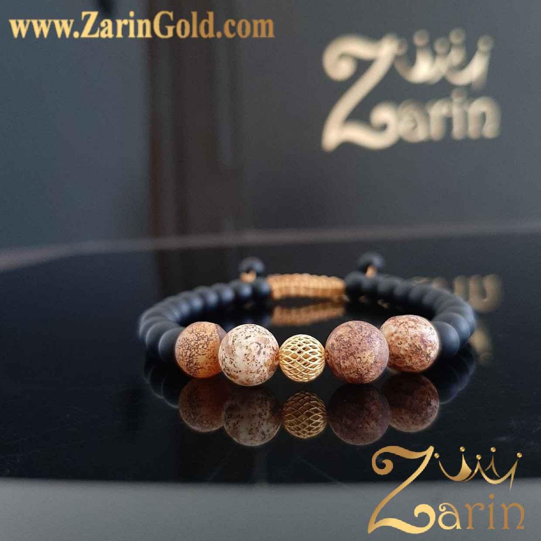 دستبند طلا طرح گوی با سنگ