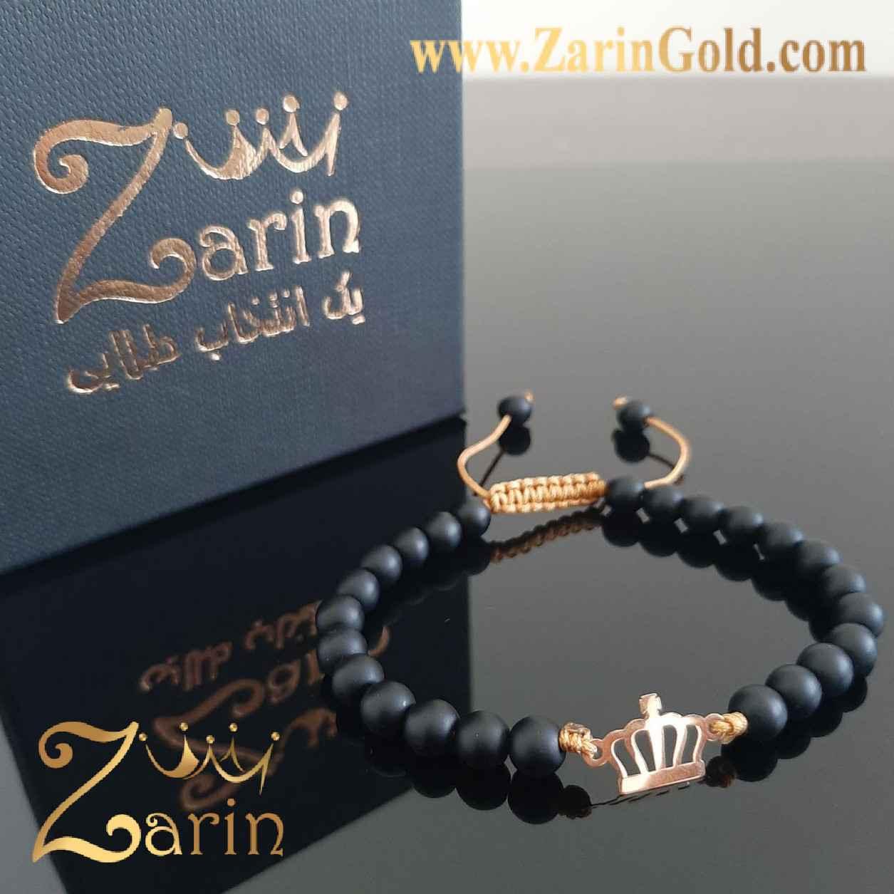 دستبند طلا مدل تاج با سنگ