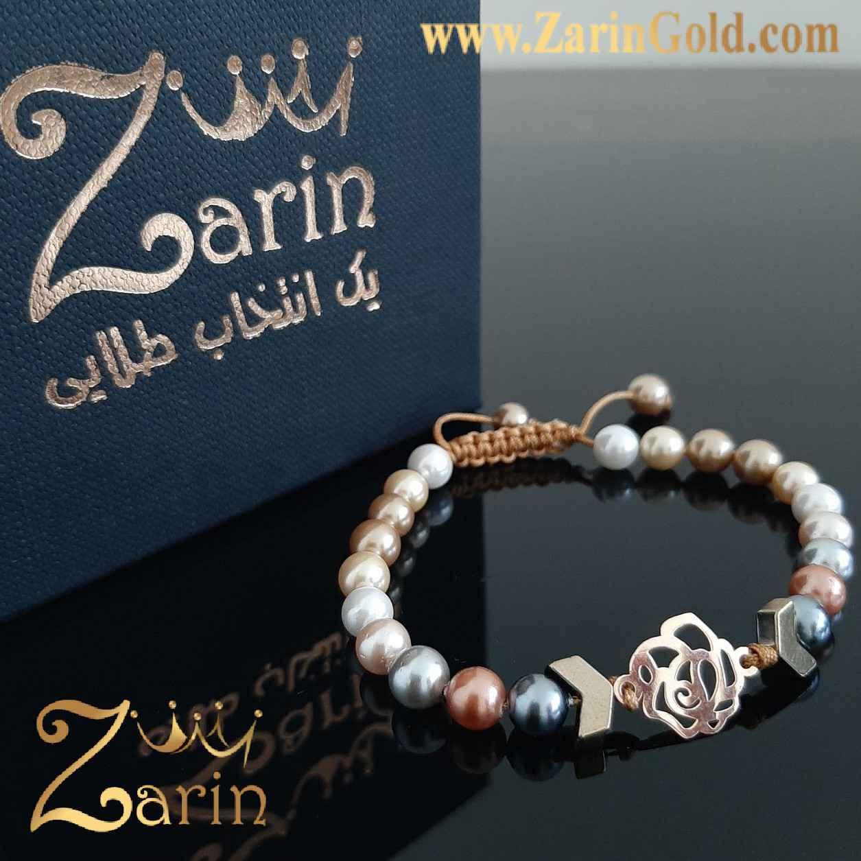 دستبند طلا نماد گل با سنگ