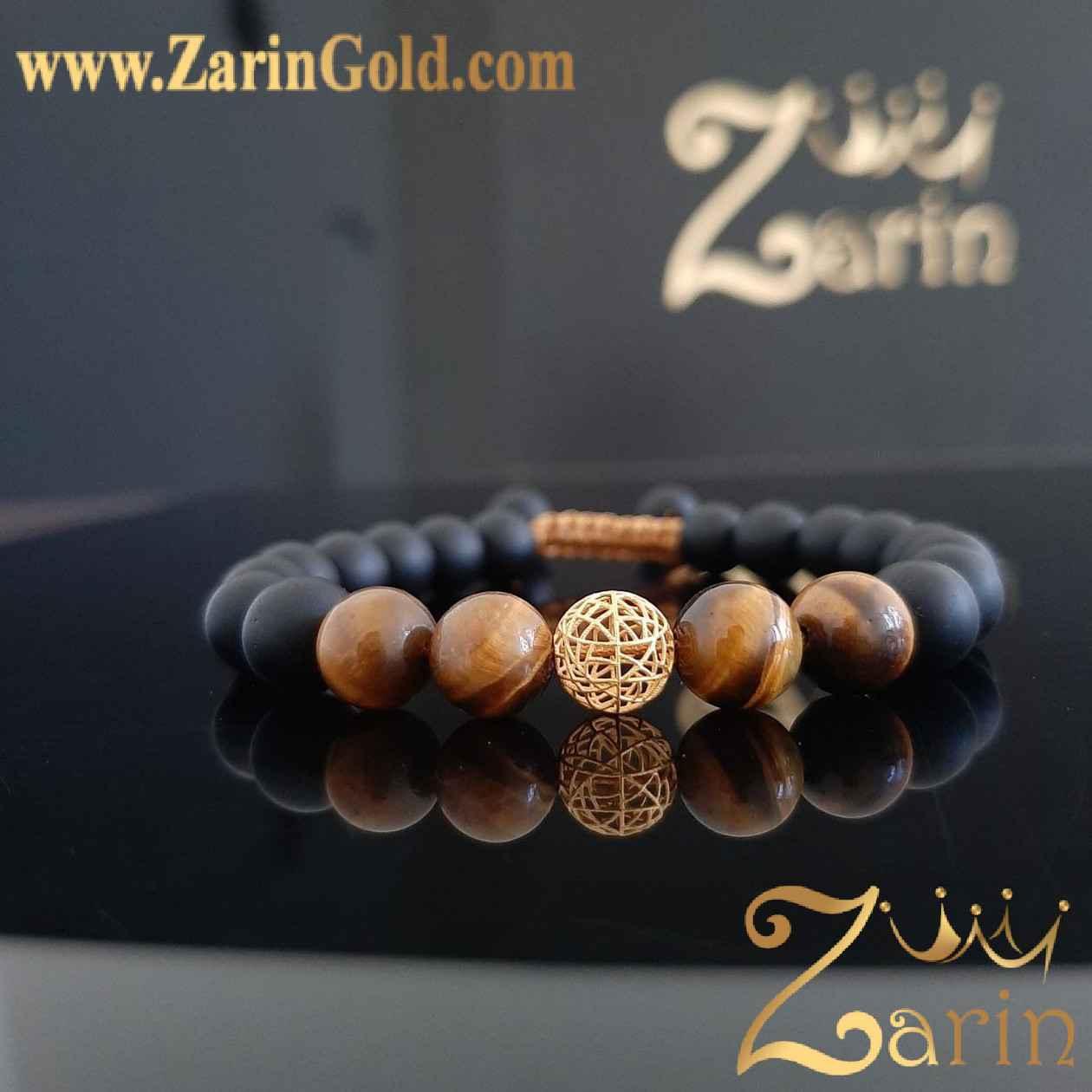 دستبند طلا مدل گوی با سنگ