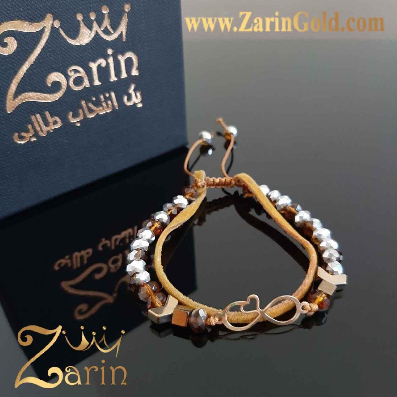 دستبند طلا طرح بی نهایت قلب با سنگ