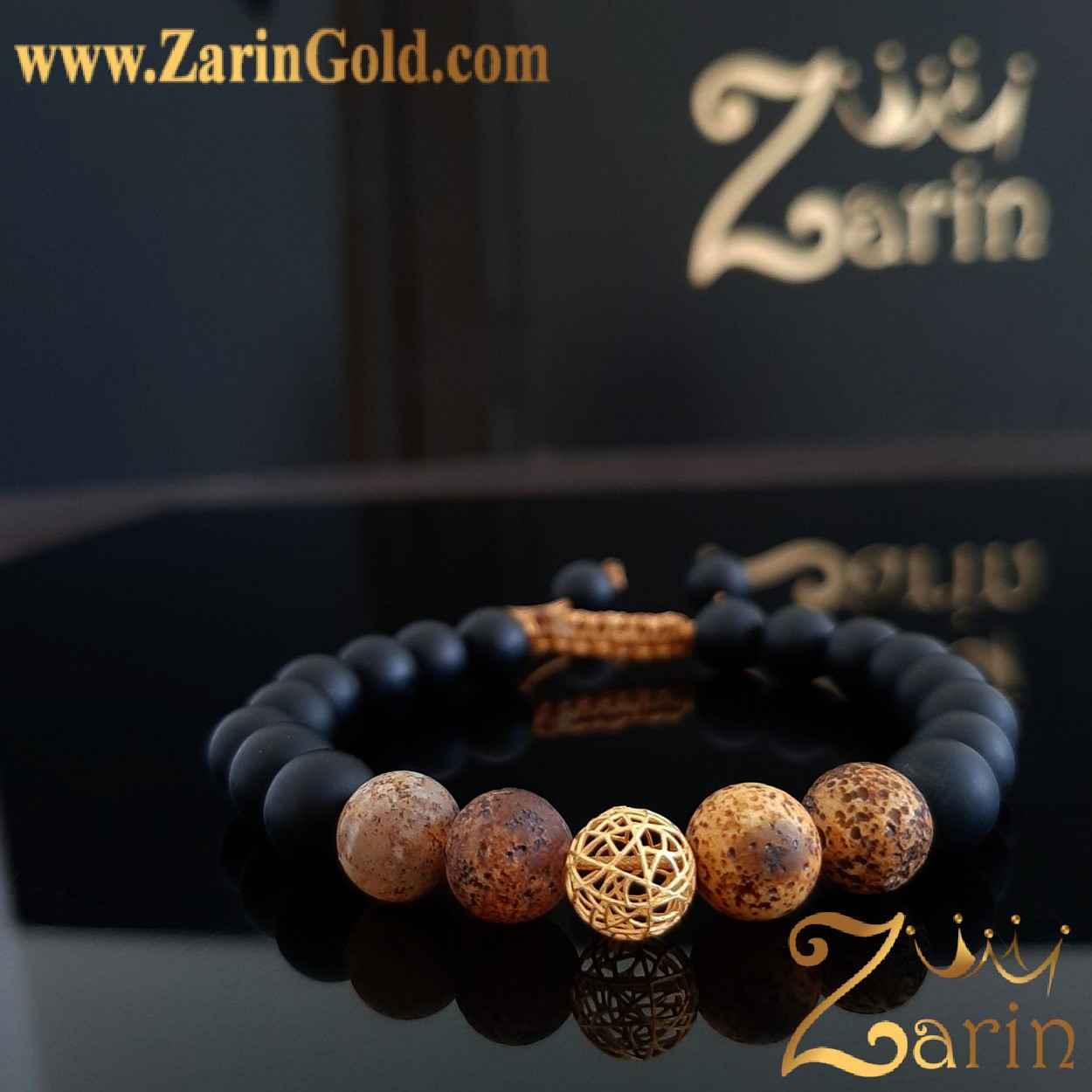 دستبند طلا نماد گوی با سنگ