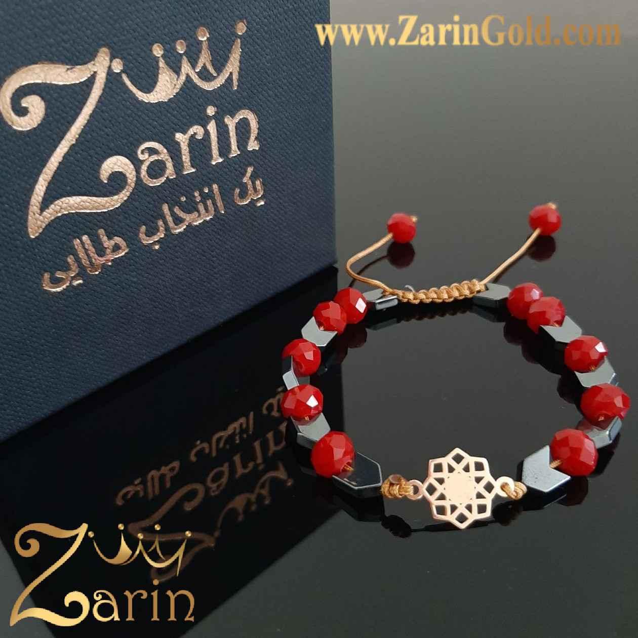 دستبند طلا طرح اسلیمی با سنگ
