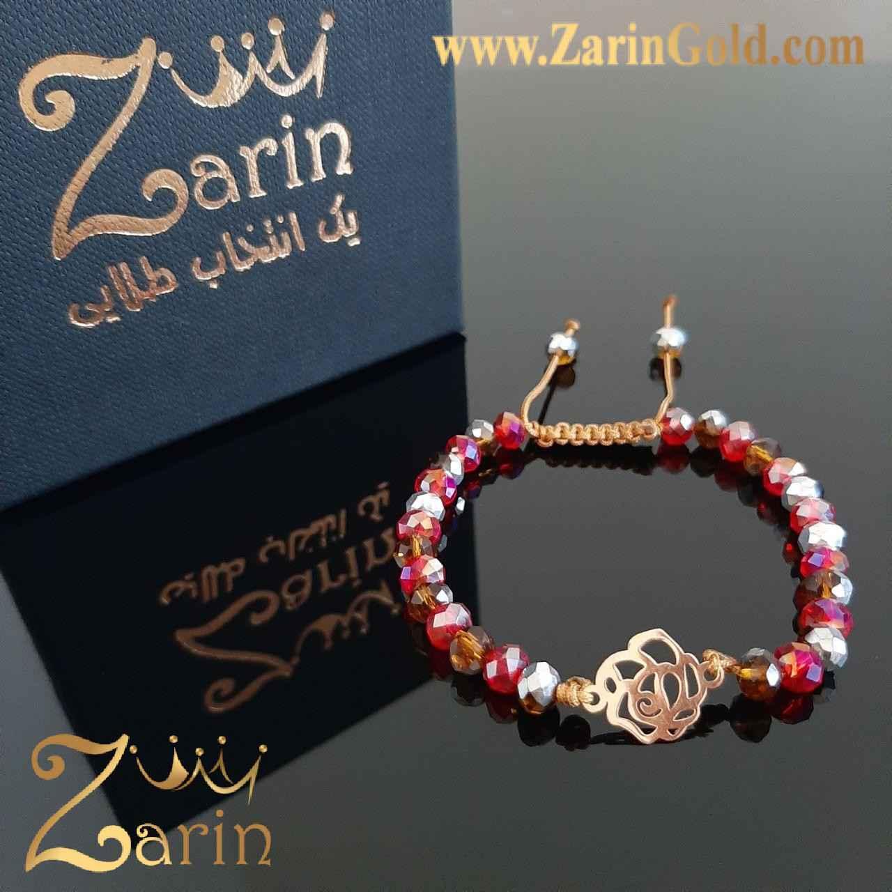 دستبند طلا مدل گل با سنگ