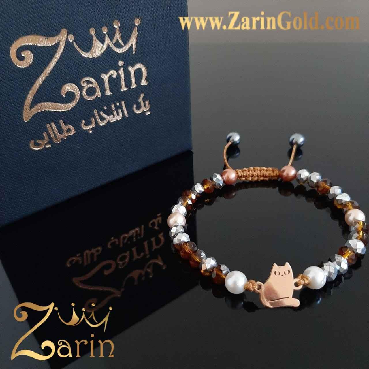 دستبند طلا مدل ویرگول با سنگ