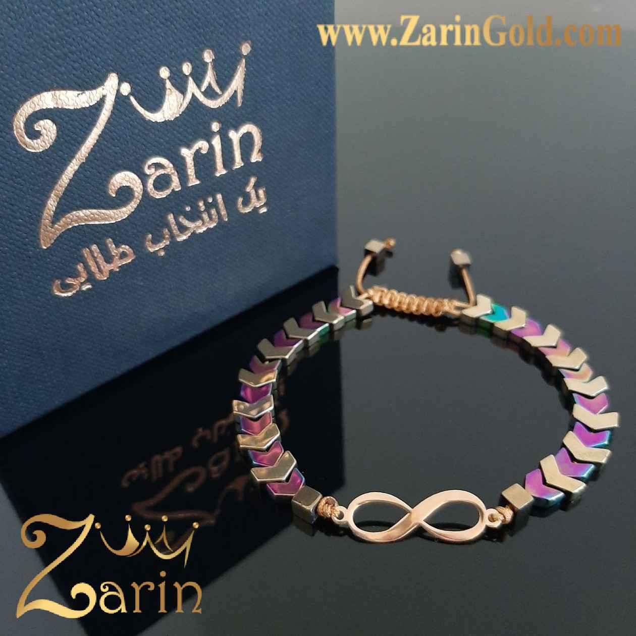 دستبند طلا طرح بی نهایت با سنگ