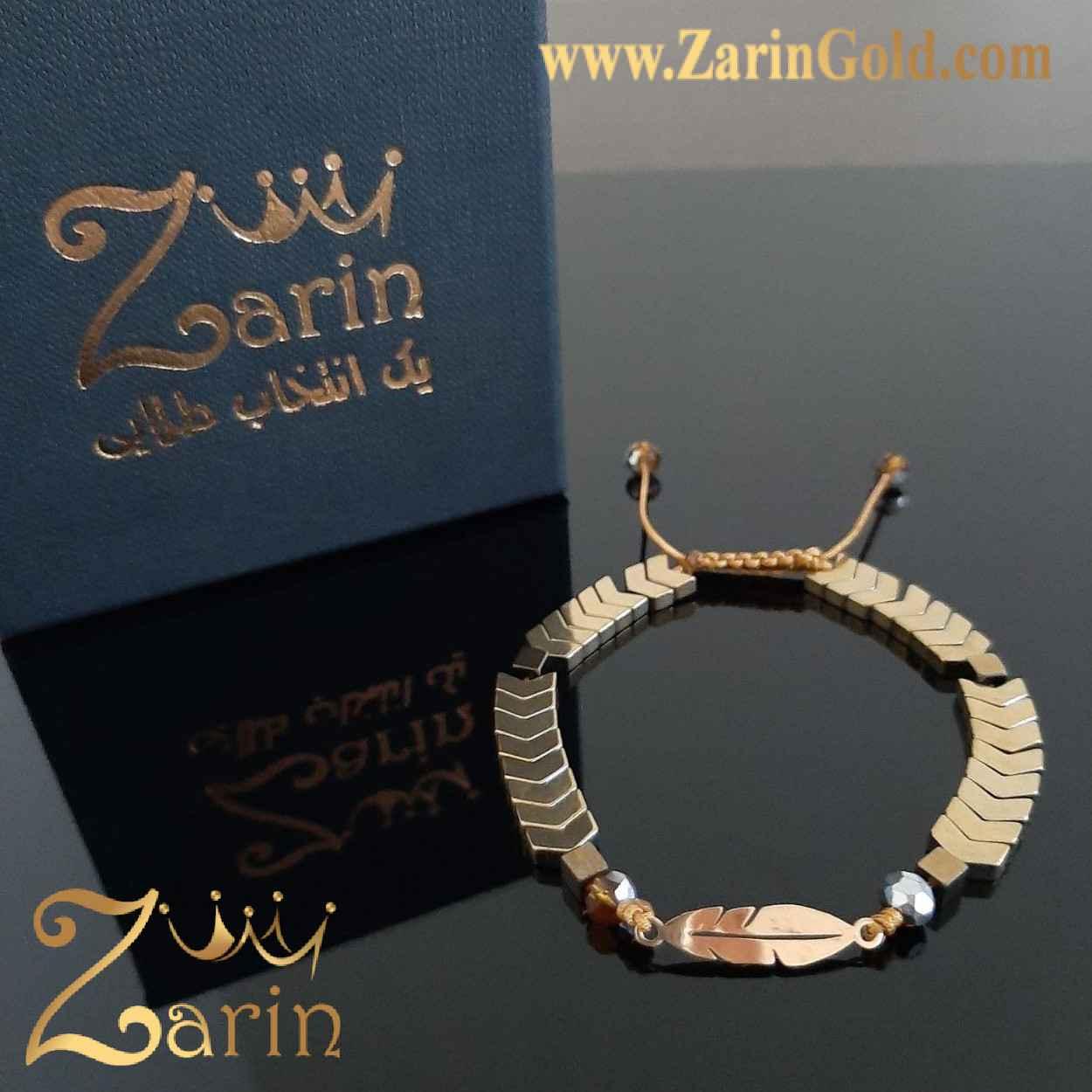 دستبند طلا نماد پر با سنگ