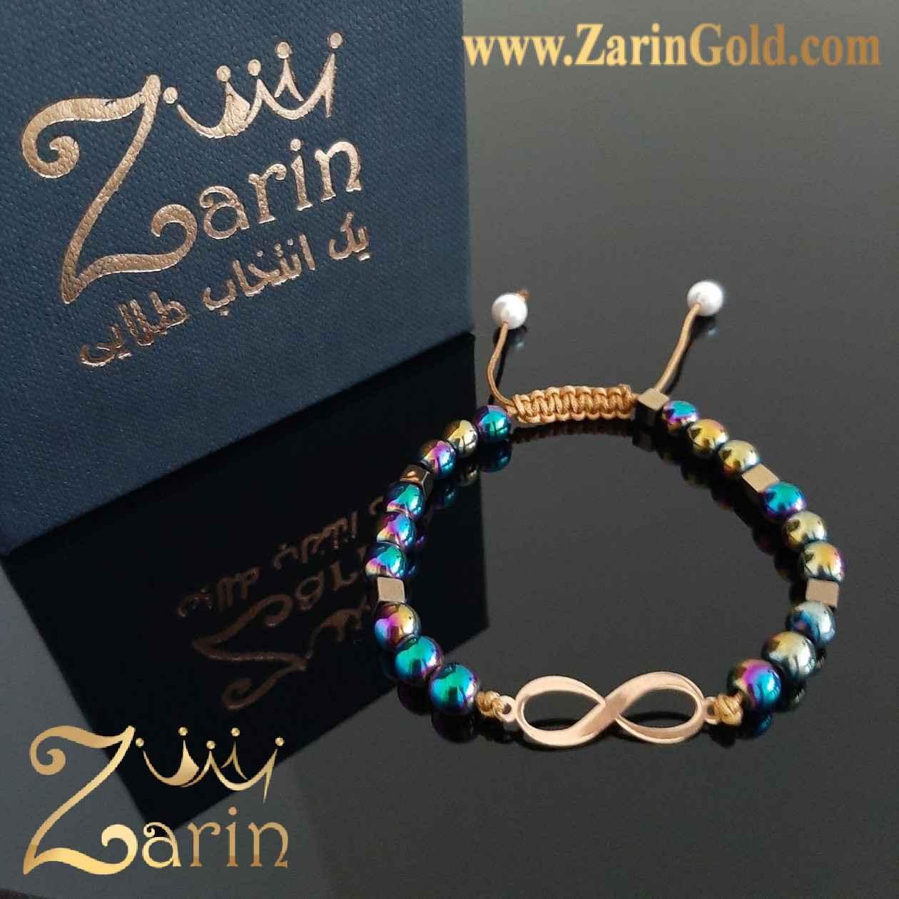 دستبند طلا نماد بی نهایت با سنگ