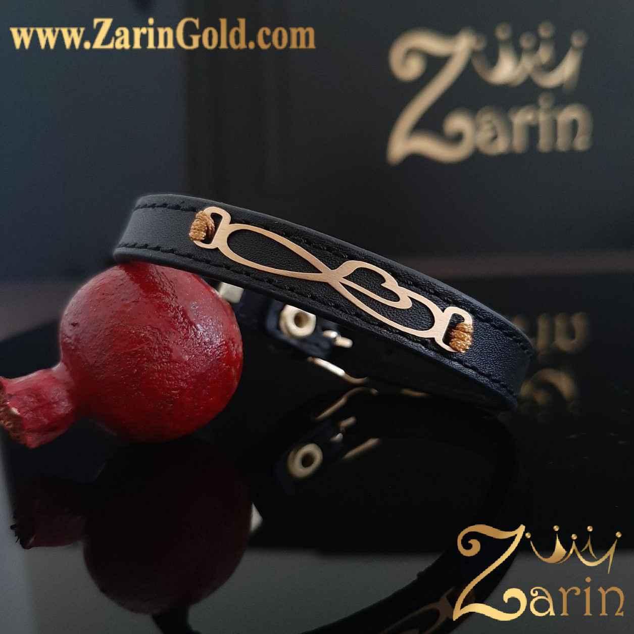 دستبند طلا مدل بی نهایت قلب با چرم