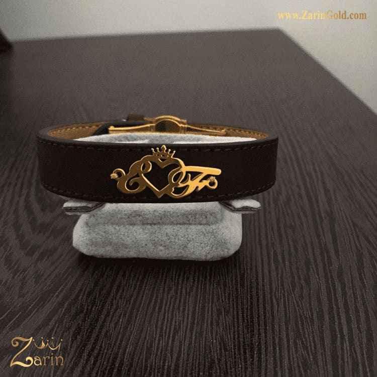 دستبند طلا مدل حروف EF با تاج و چرم