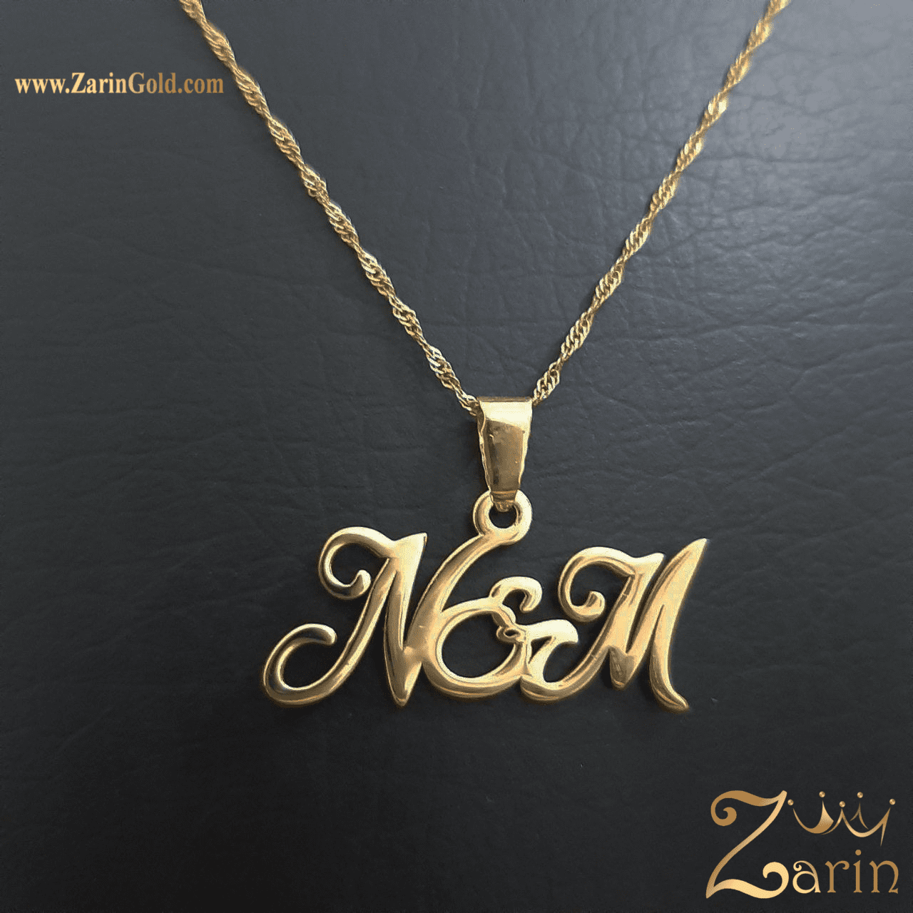 پلاک طلا حروف انگلیسی N M با زنجیر