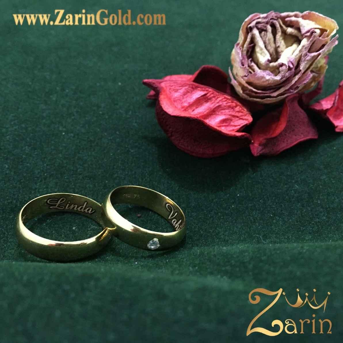 حلقه نگین دار ازدواج و نامزدی طلا