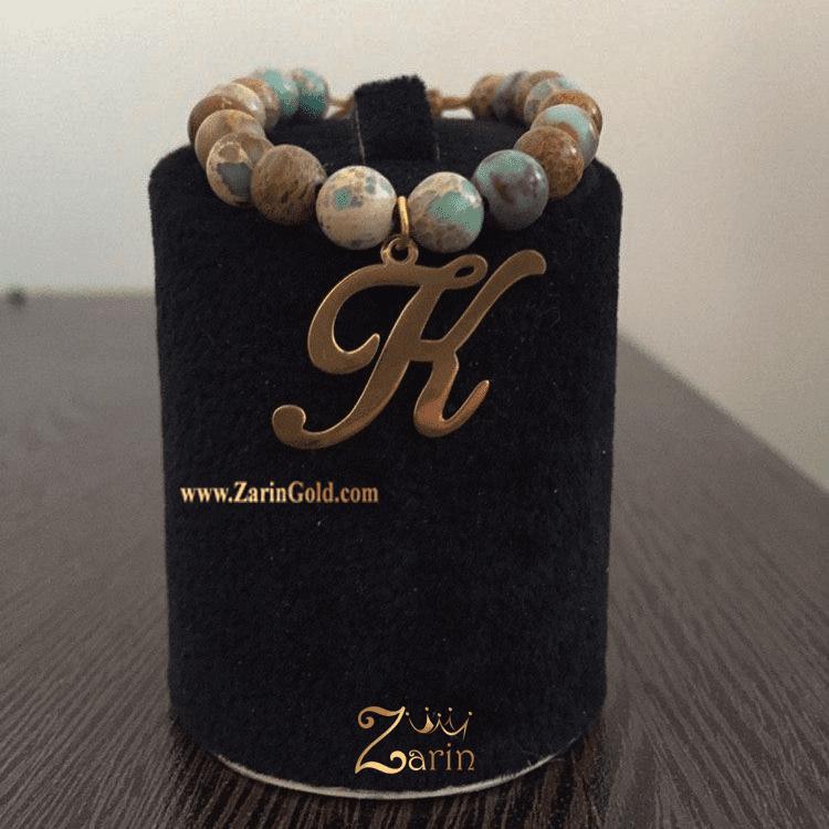 دستبند طلا طرح اسم K با سنگ