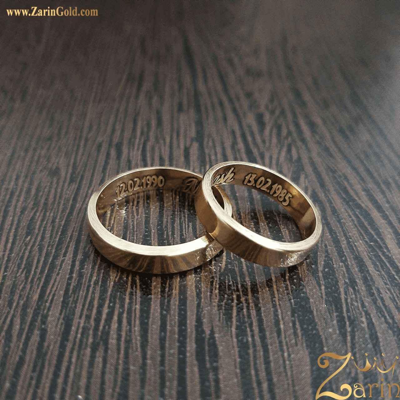 حلقه ازدواج و نامزدی با حک تاریخ