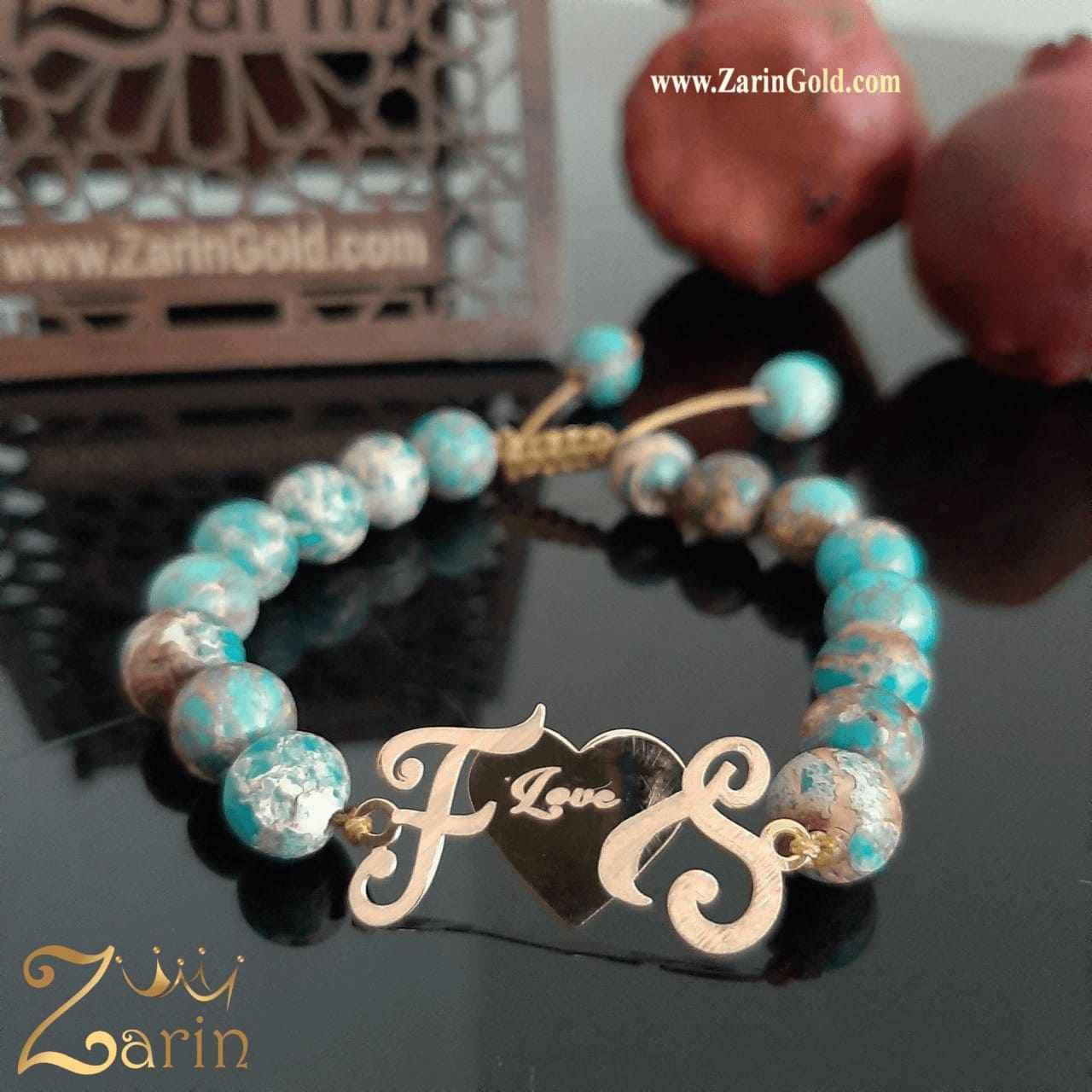 دستبند طلا طرح حروف F S با سنگ