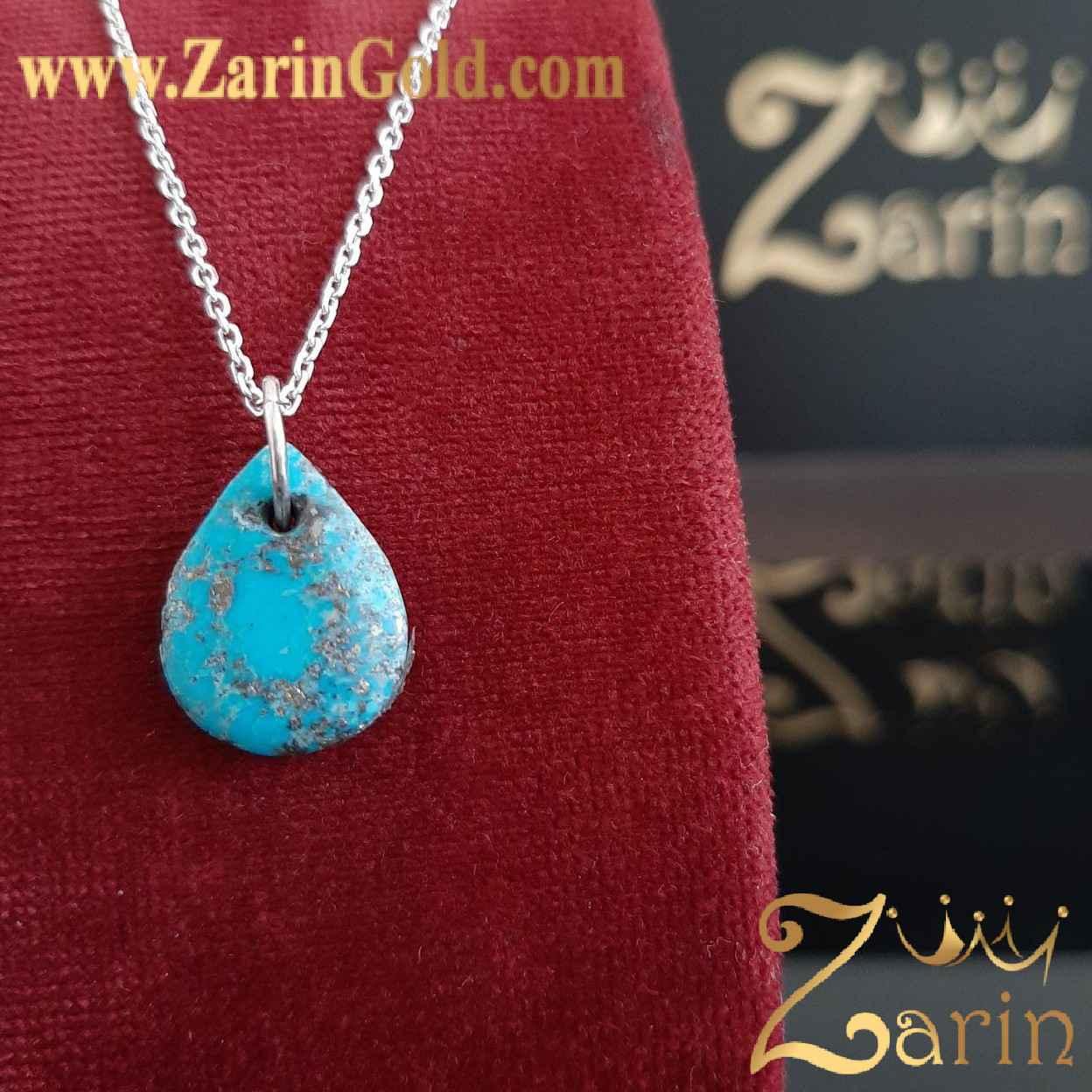 سنگ فیروزه کرمان با رگه آلیاژ با حلقه چه نقره