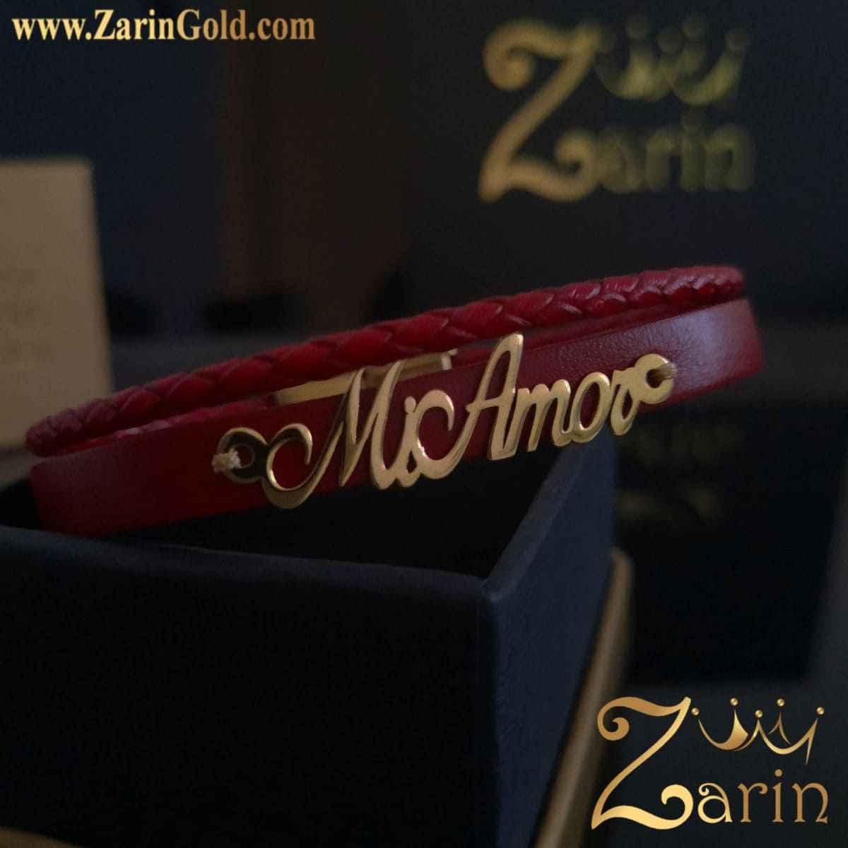 دستبند طلا طرح اسم mi Amor