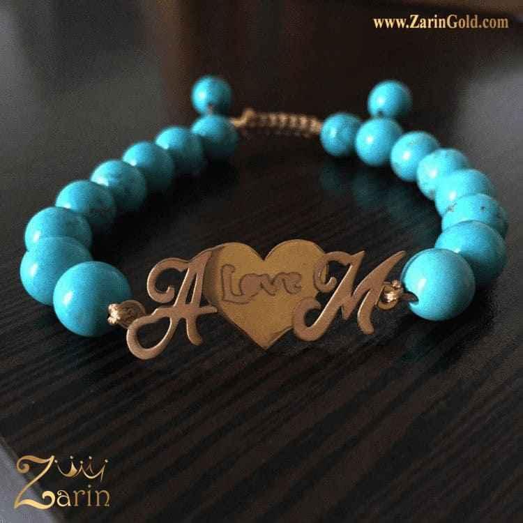 دستبند طلا حروف A M با سنگ
