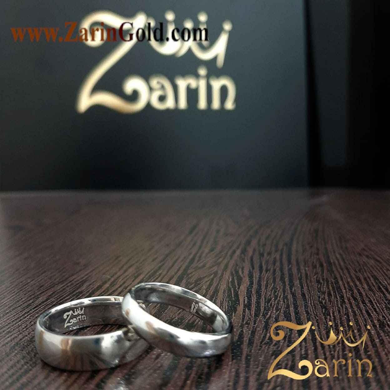 حلقه ازدواج و نامزدی با حک و آبکاری سفید