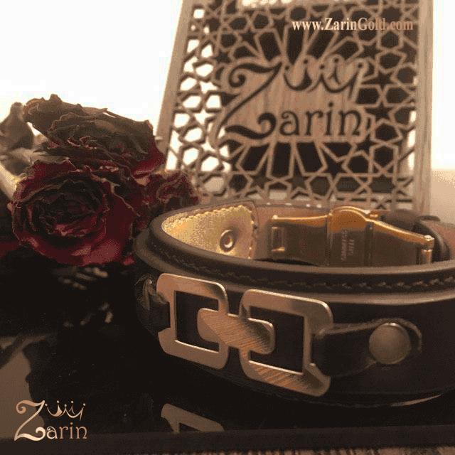 دستبند طلا مدل مربع های متصل با چرم