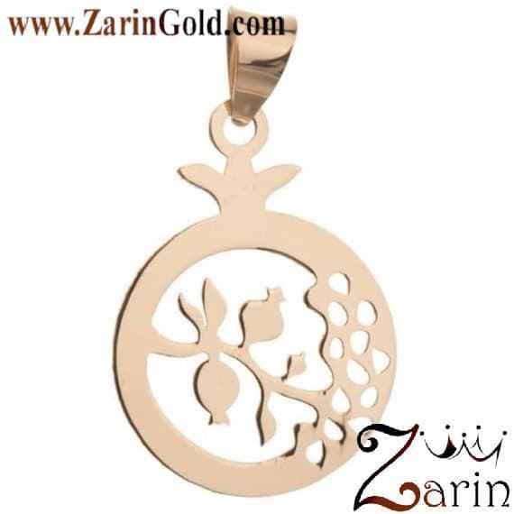 پلاک طلا طرح انار و شاخه