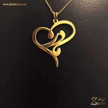 پلاک طلا اسم مادرم با طرح قلب