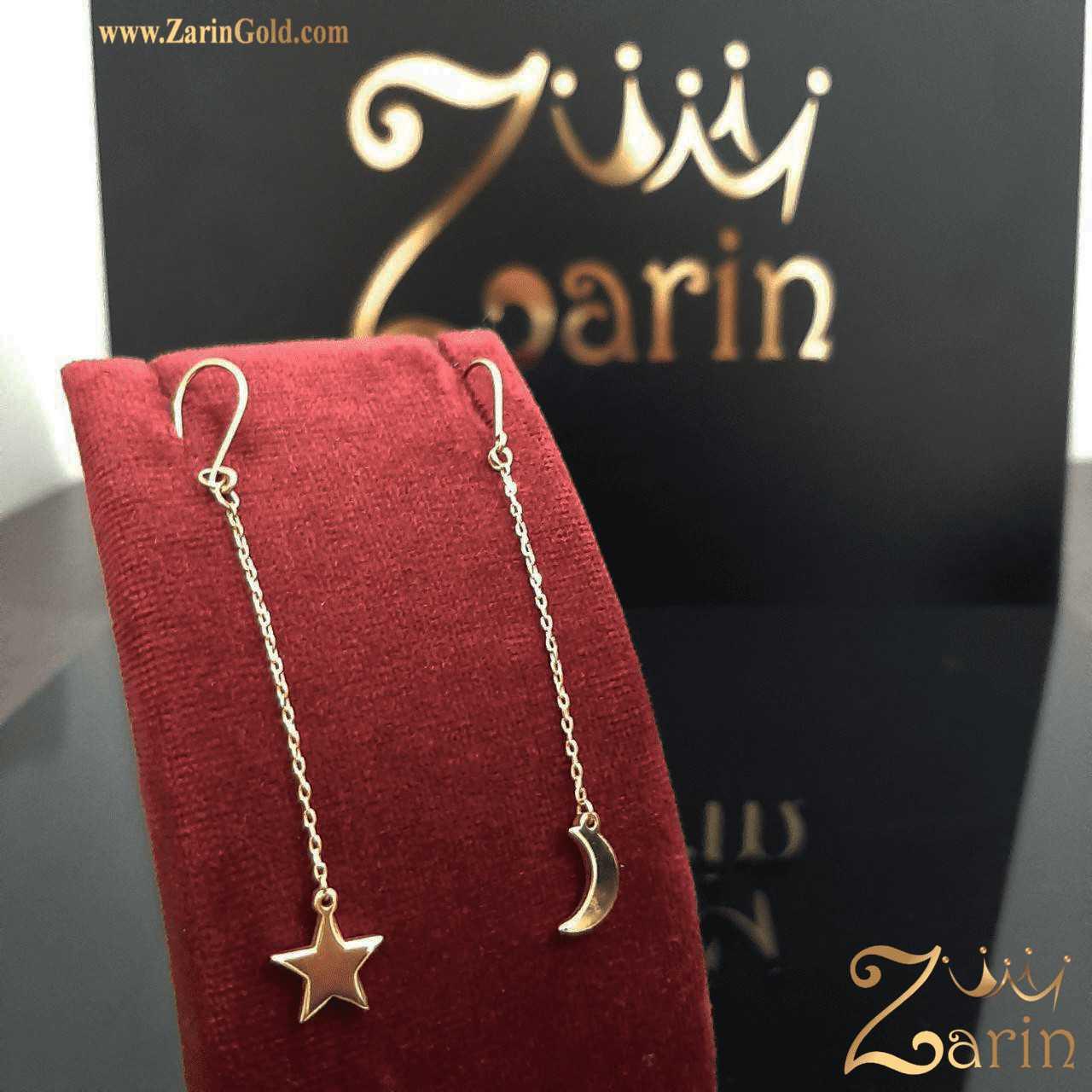گوشواره طلا طرح ماه و ستاره