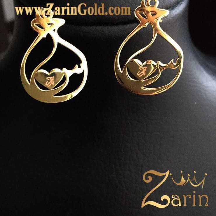 گوشواره طلا حرف س با طرح قلب