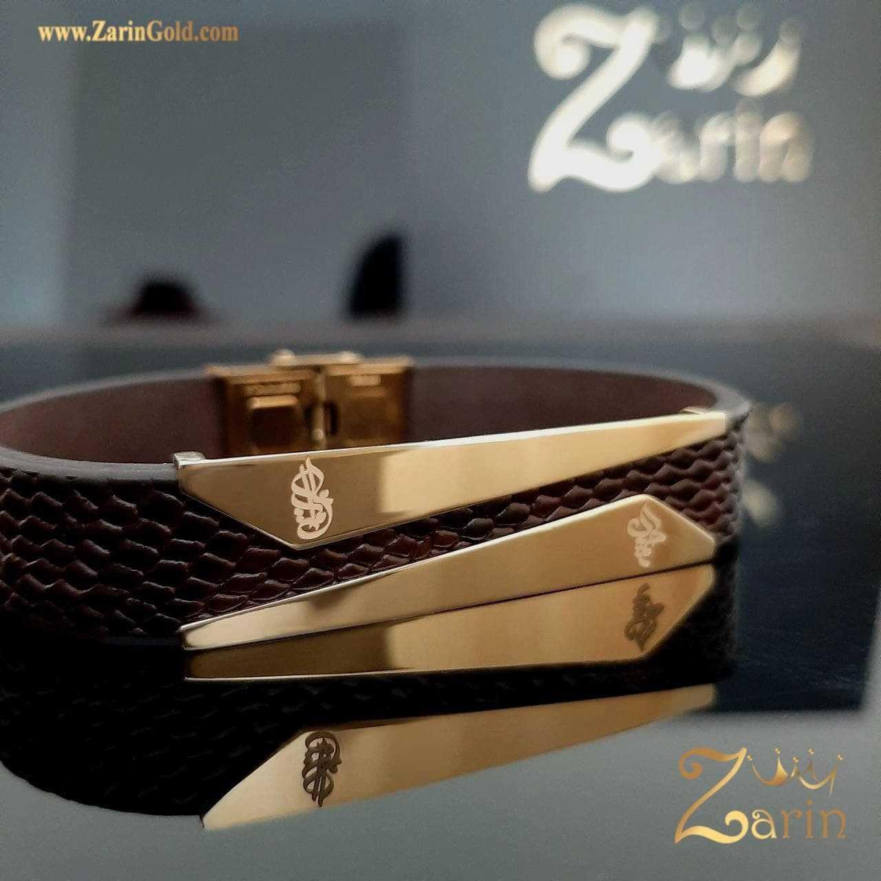 دستبند طلای طرح کات با حک امیرعلی و حمید