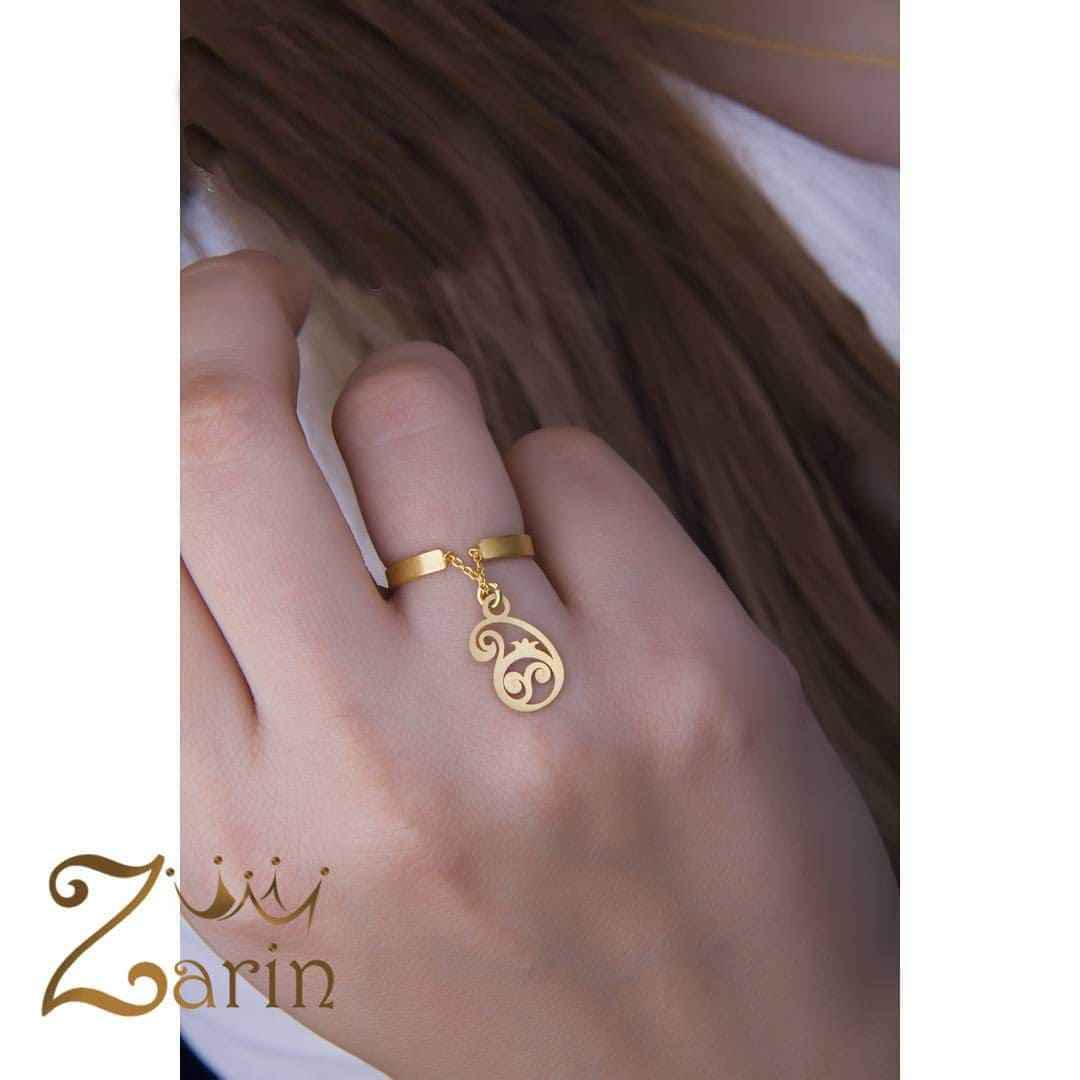 انگشتر طلای آویز دار طرح بته جقه
