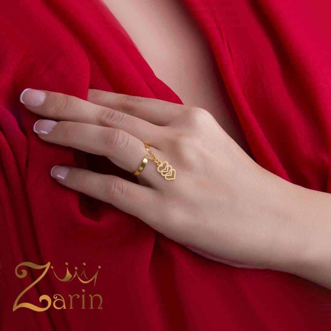 انگشتر طلای آویز دار طرح سه قلب