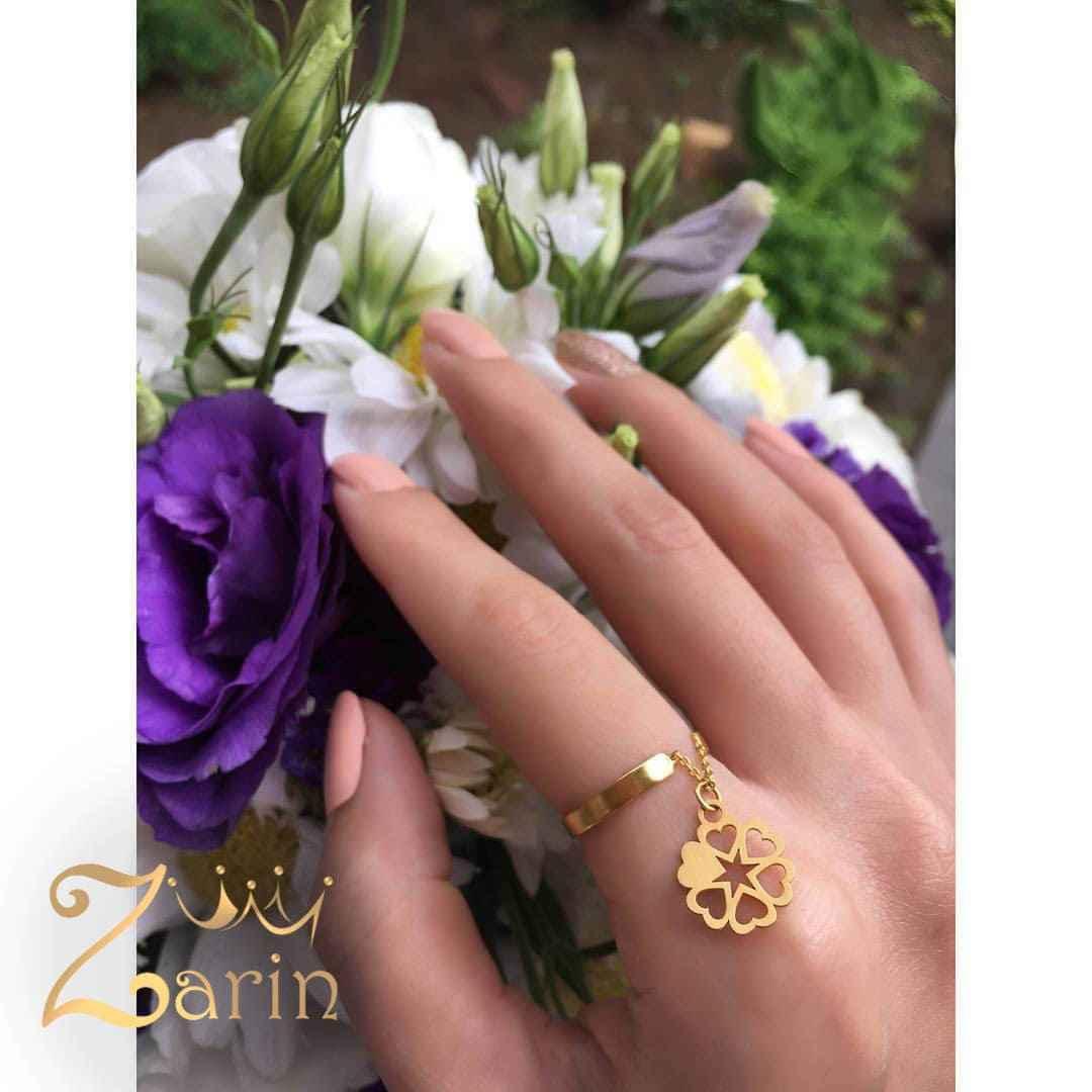 انگشتر طلا آویز دار طرح گل شش قلب