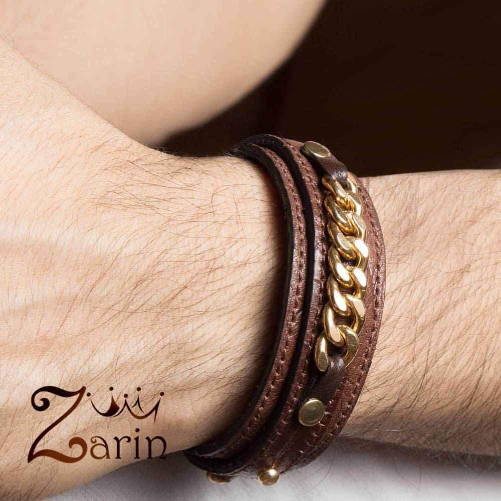 دستبند طلا طرح کارتیه با چرم